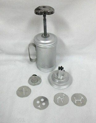 Vintage Cookie Press  discs, canister & press Very Clean Stainless Metal