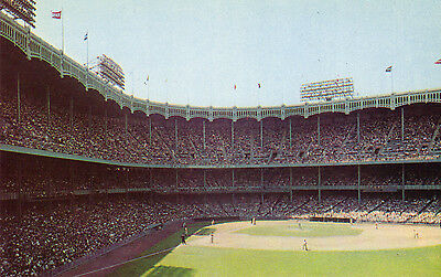 Unused chrome postcard 1950's-60's Yankee Stadium  from right field grandstand