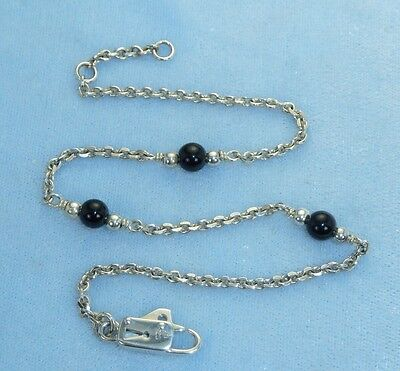 Vintage Sterling Handcrafted Ankle Chain  Black Onyx, Awesome Clasp Konder #253