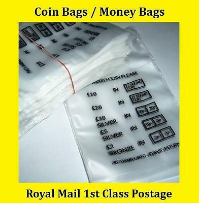 500 Plastic Coin Bags Money Bank Bags No Mixed Coins Change Cash Retail Bag New