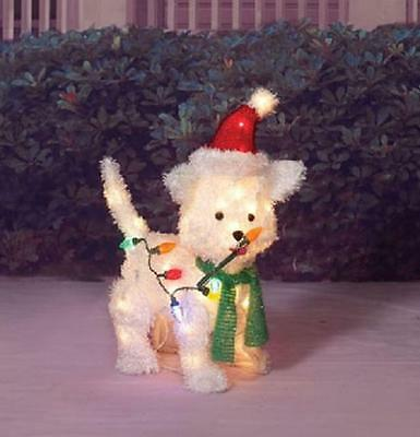 "Outdoor Lighted 24"" SANTA PUPPY DOG SCULPTURE Christmas Holiday Yard Art Decor"