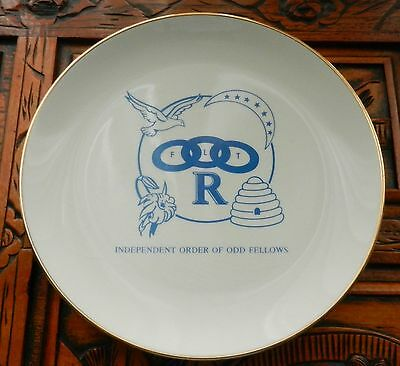 Independent Order of Odd Fellows FLT R Collector Plate Bee Hive & Dove vintage