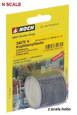 NOCH 34070 N Scale Cobblestone Road Street Roll 3.2ft NEW $0 Shipping