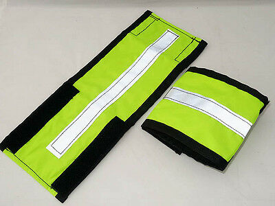 Extra wide fluorescent hi viz horse leg straps/bands - yellow or pink