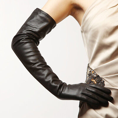 Womens Genuine Soft Nappa Leather Opera Long Lined Party Gloves On Sale #080#109