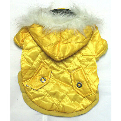 973 S~L Yellow Faux Fur Hoodie Padded Coat Jacket /Dog Clothes Dress Sweater -N