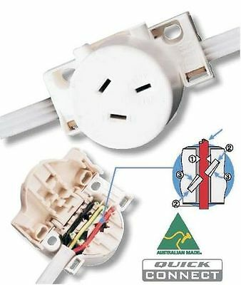 10 x CLIPSAL ELECTRICAL QUICK CONNECT SURFACE SOCKET - 10A - 250V - (413QCWE)