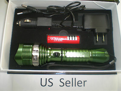 1600 LM Waterproof XML T6 LED Zoomable 18650 flashlight Torch AC/Car FFF GREEN
