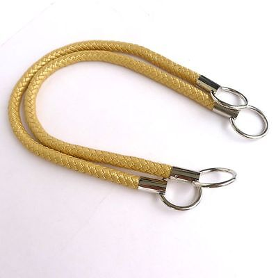 Diy Gold Shiny Pair Round Braided Bag Strap Replacement Handle Shoulder 55Cm