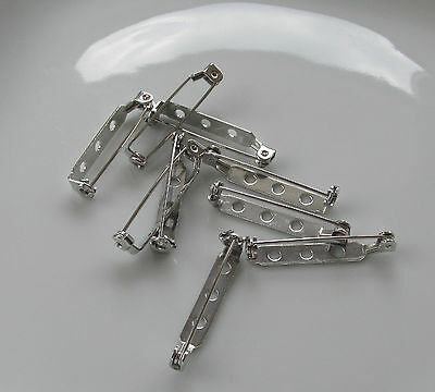 Jewellery Craft Design - Findings Silver Plated 30mm Brooch Pin Bar Back Backs