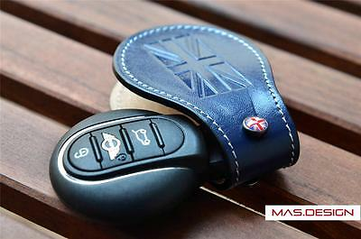 Leather key case Fits 2014-on BMW MINI Cooper S F56 F55 JCW Blue Color (Gen3)