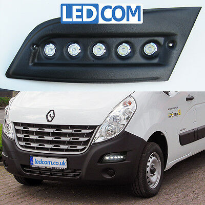 Daytime Running Lights DRL LED Pod Kit Renault Master Motorhome Black Textured