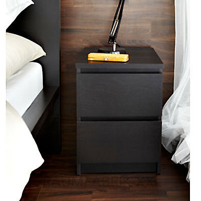 ikea kommode schrank mit 2 schubladen schwarz braun nachtisch ablagetisch neu eur 48 00. Black Bedroom Furniture Sets. Home Design Ideas
