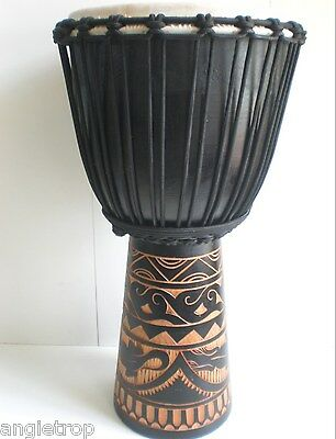 Quality Mahogany Wood Bongo Djembe Drum Tribal Carved Black 60Cm Tall Tuned 4You
