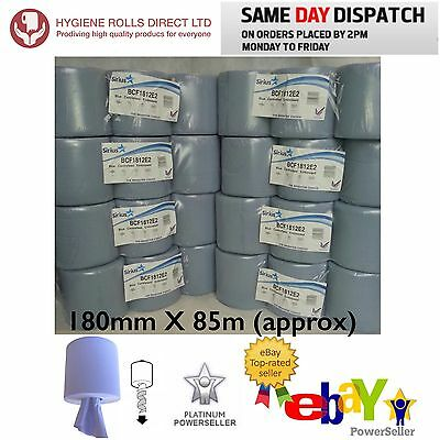 48 rolls(8 PACKS) x GRADE A* Blue Centrefeed Embossed 2ply Wiper Paper Towel 85M