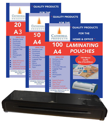 A4 A3 Laminator Laminating Pouches 150 Micron Heated 20 50 100 Sheets
