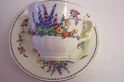 Antique Crown STAFFORDSHIRE England Bone China Cup and Saucer - 1930s
