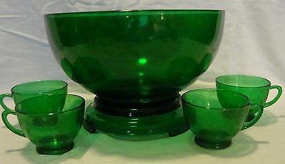 •Vintage Mid-century Forest Green Punch Bowl with 14 Punch Cups and Pedestal
