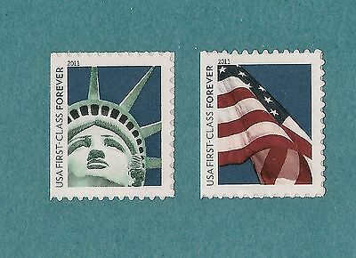 4518-4519 Lady Liberty & US Flag 2011 MNH Singles from ATM Forever