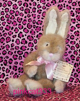 RUSS PLUSH LIGHT BROWN RABBIT BUNNY~~Hopscotch 1215~~PINK RIBBON~HEARTCRAFT~NWT