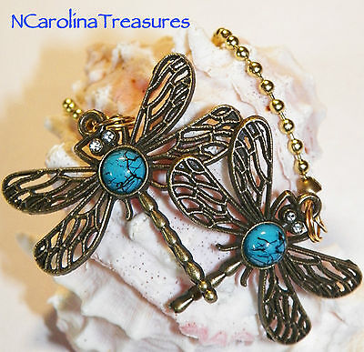 Ceiling Fan Chain Light Switch Pull Dragonfly Antique Brass Turquoise Large Pair