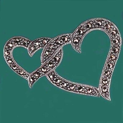 2 Hearts Entwined - Sterling Silver & Marcasite Brooch - For Someone You Love !