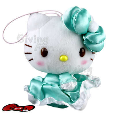 "GENUINE SANRIO PRIZE Hello Kitty 5"" Grand Green Dress Soft Plush Doll w Strap JP"