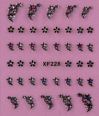 Stars Daisy Rhinestone flowers 3D Nail Art Stickers Decals Tips Decoration