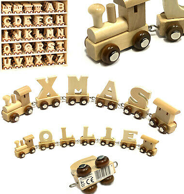 Wooden Name Train Letters Personalised Cute Child Baby Birthday Christening Gift