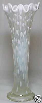 NORTHWOOD GLASS COMPANY, WHITE OPALESCENT TREE TRUNK VASE~~~