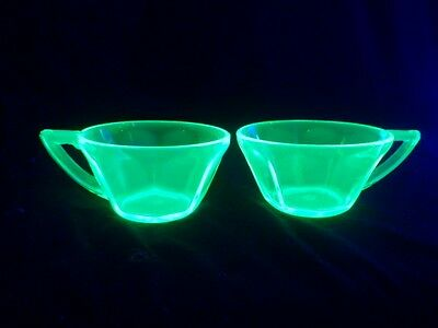 Pair of Vaseline Glass Cups with Handles, Brightly Illuminated