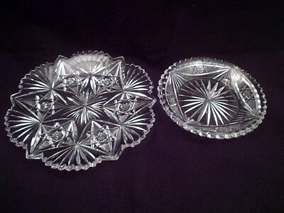 Two Antique American Brilliant Period Cut Crystal Plates