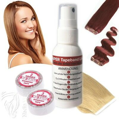 SET SUPER BONDING TAPE 5,50mx0,8 + SUPER TAPEBAND LÖSER 50ml FÜR TAPE EXTENSIONS
