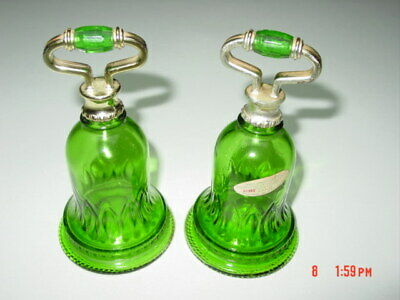 2 Vintage Pair Set Avon Emerald Green Bell Shapped Bottles EMPTY Dated 1978