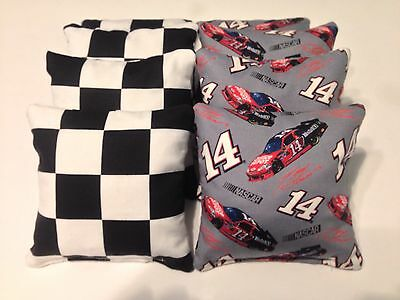 8 CORNHOLE NASCAR TONY STEWART #14 BEAN BAG BAGGO RACE FLAGS TAILGATE TOSS