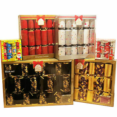 "6,12,8 Packs Family Luxury Premium Kids Mini Xmas Christmas Crackers 6"",10"" ,14"""