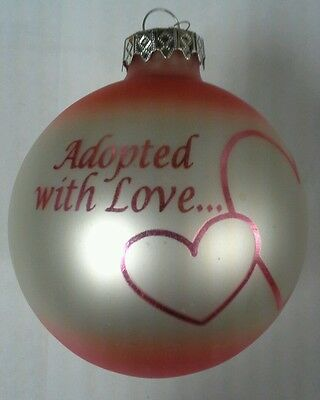 """Adopted with Love 3"""" Glass Ball Christmas Ornament Adopted Girl"""