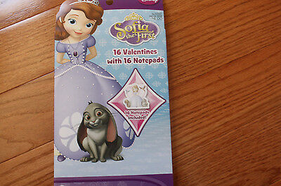 NWT NIP 16 Sofia the First Valentines cards with 16 Notepads