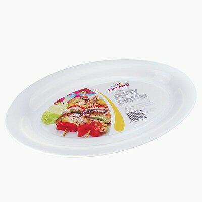 36 x WHITE PLASTIC OVAL SERVING TRAY  PLATTER CATERING PARTY MEDIUM 39cm x 27cm