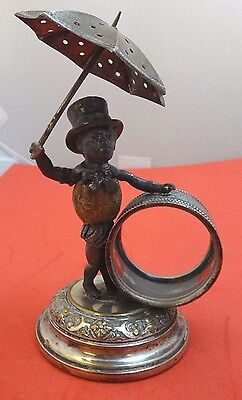 Figural Silverplate Napkin Ring with Man and Umbrella