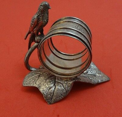 Figural Silverplate Napkin Ring with Bird and Leaf