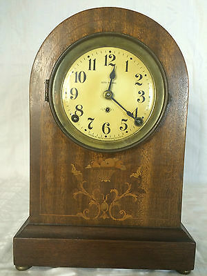VINTAGE SETH THOMAS BEEHIVE MANTEL SHELF CLOCK WITH WOOD INLAY