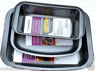 Non Stick Steel Oven Baking Roasting Tray Loaf Pan Kitchen Bakeware Cooking Set