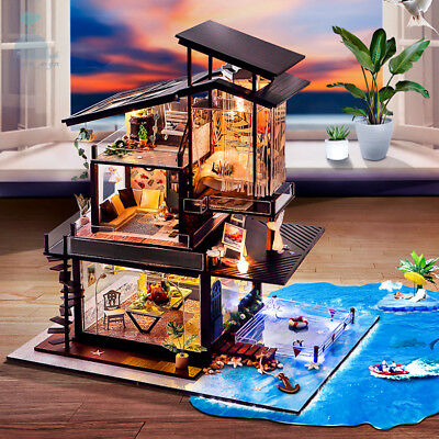DIY Handcraft Miniature Project Wooden Dolls House My Beach Villa in Valencia