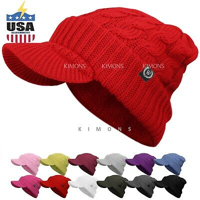 a6a26c70e94 Visor Cable Knit Slouchy Baggy Beanie Oversize Winter Hat Ski Cap Skull  Womens