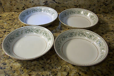 "ROSE CHINA ADA 3705 A D A FRUIT BOWLS 5-5/8"" MARKED JAPAN SET OF 4 white green"