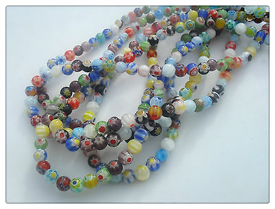50 x Glass Beads - Round - Millefiori - 6mm - Mixed Colour