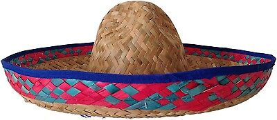 Blue Trim Mexican Straw Sombrero Spanish Hat Fiesta Fancy Dress Party Costume