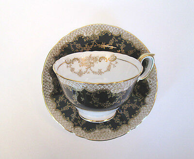 Exquisite Crown Staffordshire Porcelain Cup and Saucer, England