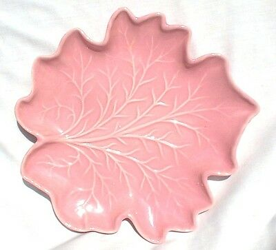 Royal Haeger Pottery Pink Leaf Serving Tray Wall Hanging R126A Fall Halloween